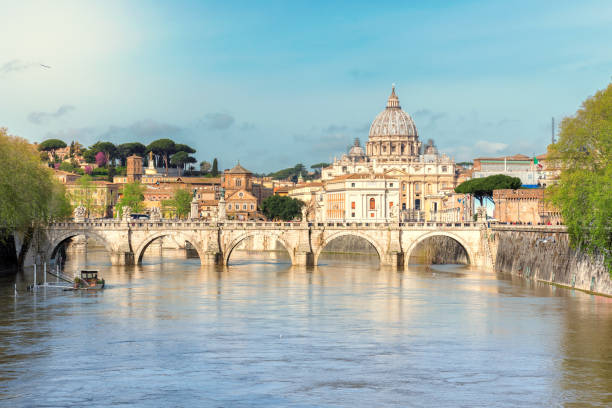 St Peter Basilica in Vatican, Rome, Italy. Rome sunset at Tiber and St Peters Basilica, Rome, Vatican, Italy. rome italy stock pictures, royalty-free photos & images