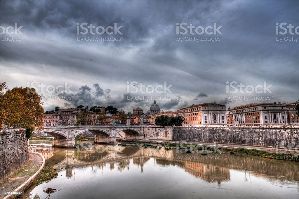 St. Peter Basilica view from Tiber river (HDR) stock photo