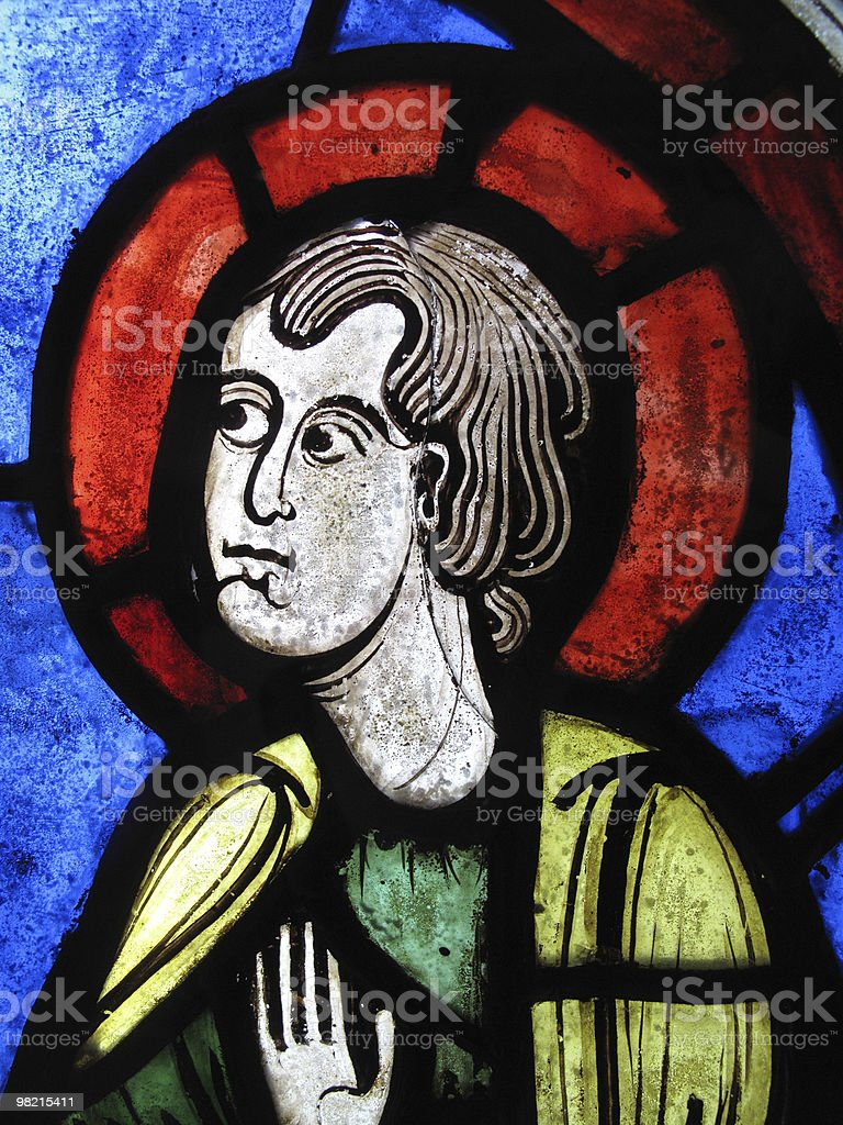 St Peter Medieval Stained Glass Window Panel royalty-free stock photo