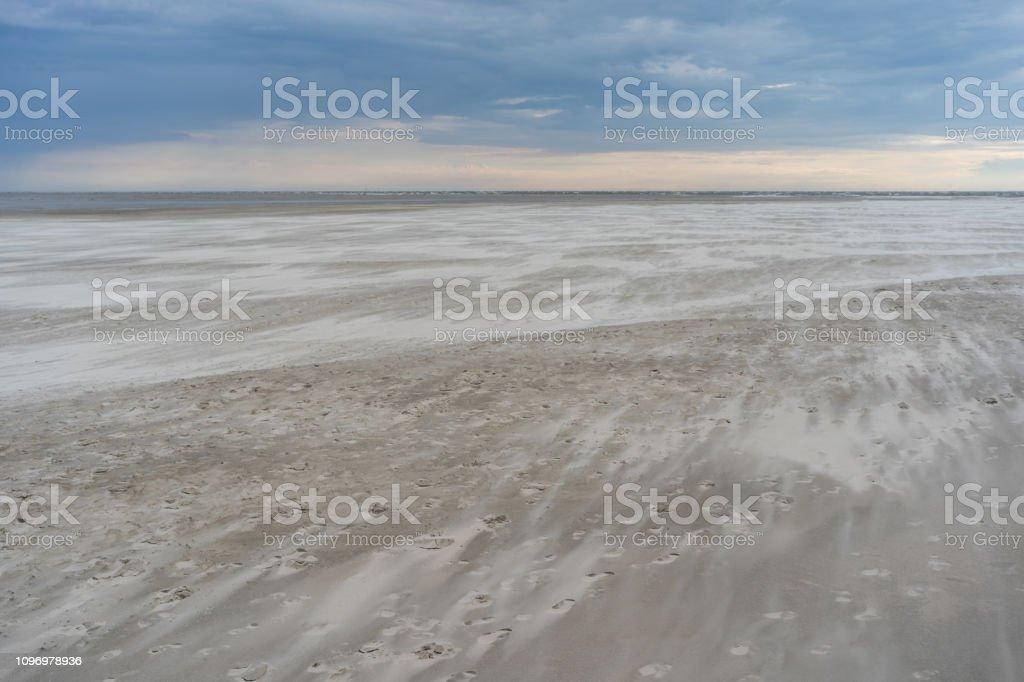 St. Peter Ording Low Tide Wadden Sea Beach Twilight North Sea Germany stock photo