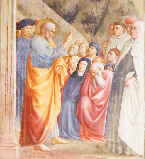 st peter preaching - renaissance fresco - peter the apostle stock photos and pictures