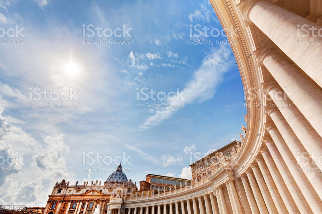 St. Peter's Basilica colonnades, columns in Vatican City. stock photo