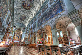 Interior of the St Peter's Church in Salzburg where Mozart first performed his famed \