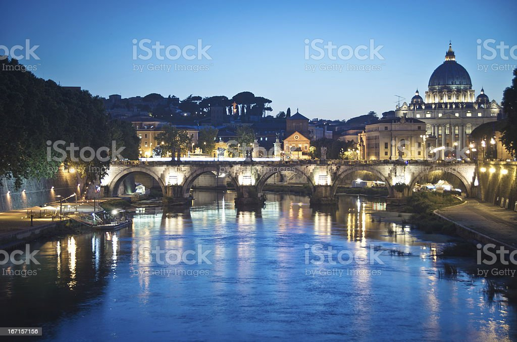 St. Peter's Basilica and Ponte Sant Angelo, Vatican City, Italy royalty-free stock photo