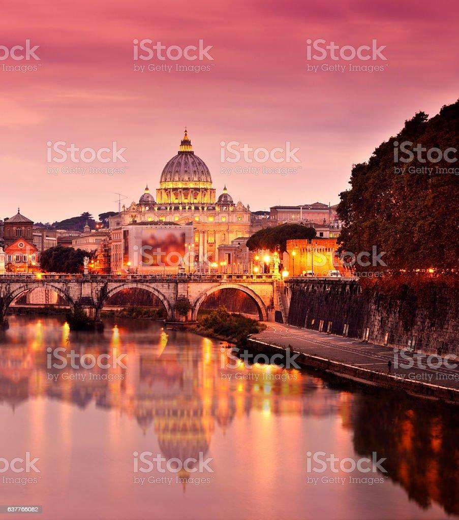 St Peter's Basilica and Tiber River stock photo