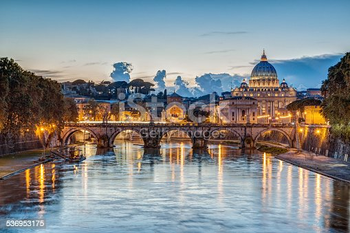 istock St. Peter's Basilica at dusk in Rome, Italy 536953175