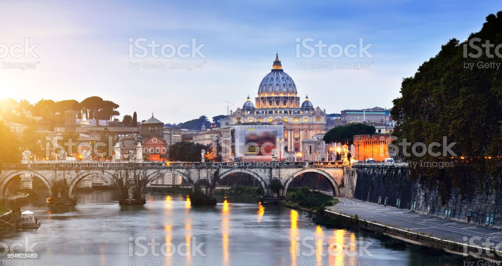 St. Peter's Basilica at sunset, Rome, Italy stock photo