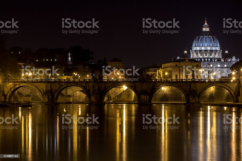 St. Peter's Basilica in Vatican City, Italy, at night stock photo