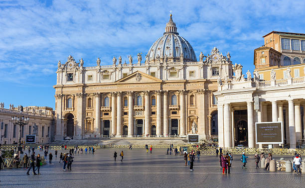 St. Peter's Basilica, Rome, Italy Rome, Italy - December 31, 2016: St. Peter's Basilica facade in Rome, Italy. St. Peter's is the most renowned work of Renaissance architecture and one of the largest churches in the world. basilica stock pictures, royalty-free photos & images