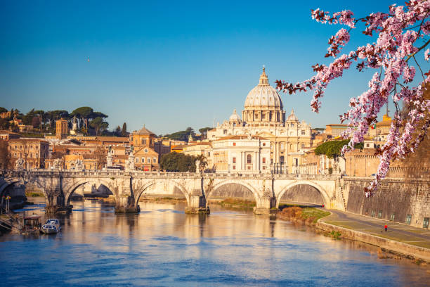 St. Peter's cathedral in Rome View at Tiber and St. Peter's cathedral in Rome rome stock pictures, royalty-free photos & images
