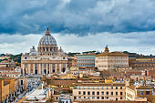 St. Peter's cathedral in Vatican view from Castle of the Holy Angel (Castel Sant'Angelo) in Rome, Italy