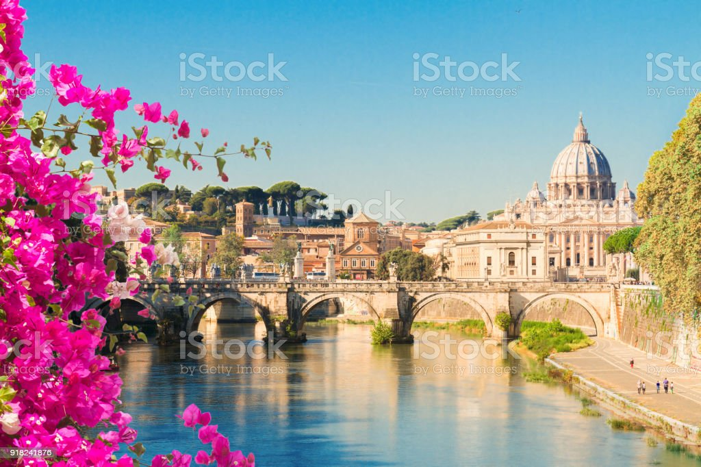 St. Peter's cathedral over bridge St. Peter's cathedral over bridge and river with flowers in Rome, Italy Ancient Stock Photo