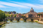 Scene of St. Peter's Cathedral with Ponte Sant'Angelo, Rome.