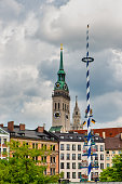 Munich Churches - Tower of St Peter and cityview of Munich, Germany