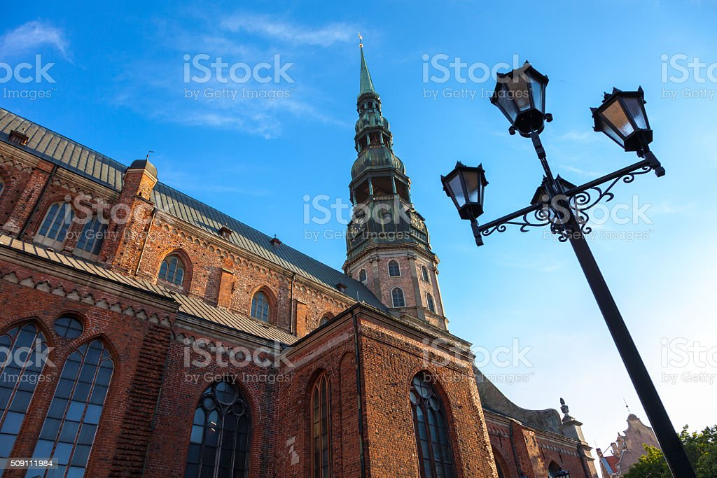 St Peters Church in old city Riga, Latvia stock photo