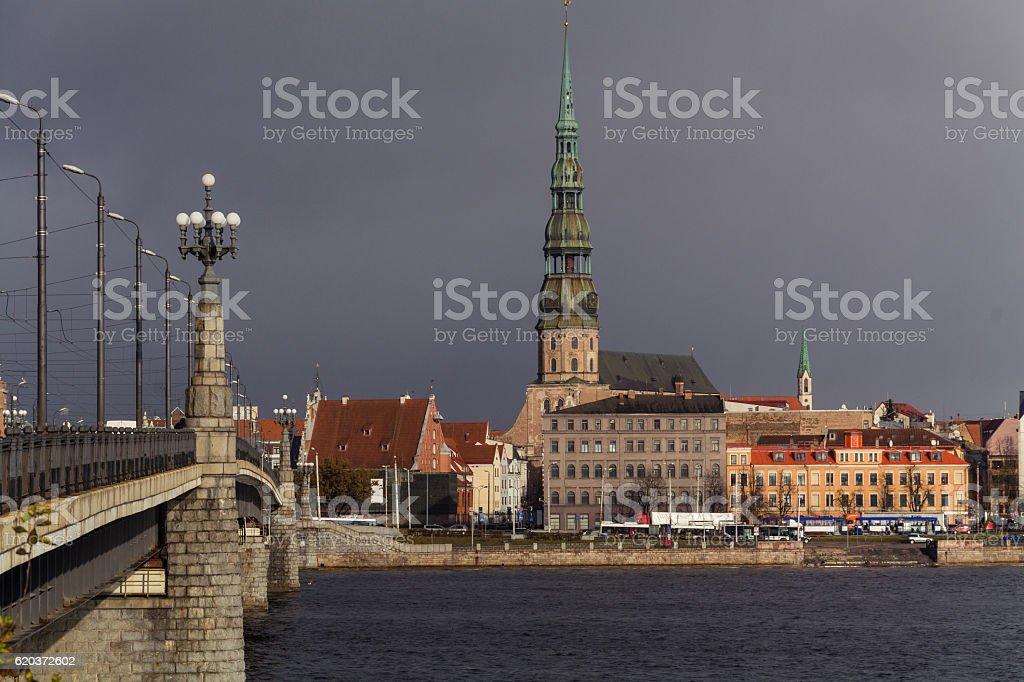 Kościół Św. Piotra w Riga, Łotwa zbiór zdjęć royalty-free