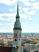 The clock tower seen from the top of the town hall Marienplatz Munich Germany