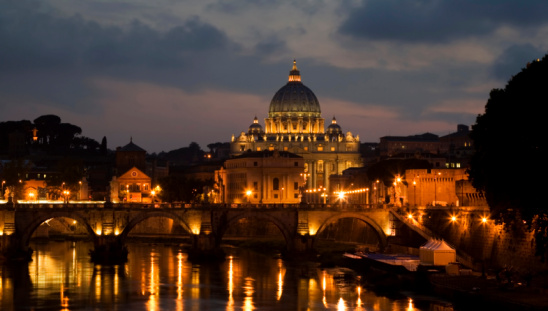 Rome, Italy - Marz 31, 2015: Italy architecture landmark with St. Peter Basilica from Vatican, main religious Catholic Church, Holy See and Pope residence.