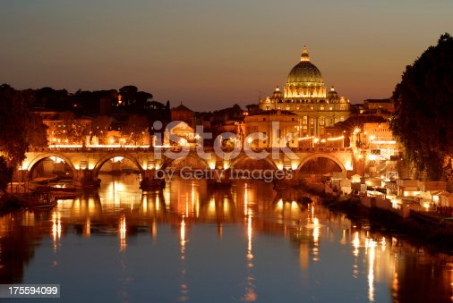 St. Peter's Basilica looking towards Vatican City.  Taken in the evening after sunset.