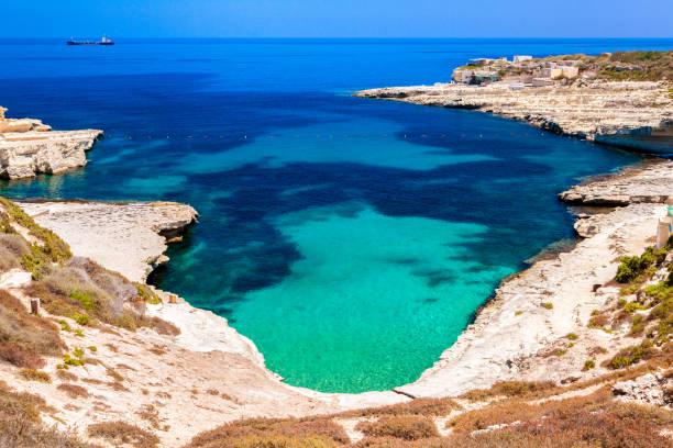 St. Peters pool beach at Malta stock photo