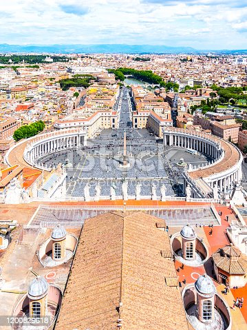 istock St. Peter's Square and Rome panoramic cityscape. View from dome of St. Peters Basilica 1200829618