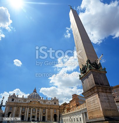 St. Peter's Square ancient Egyptian obelisk in Vatican city. Composite photo