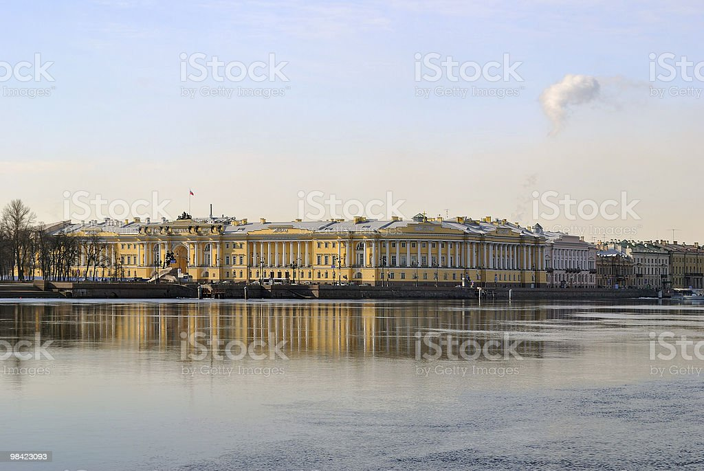St. Petersburg Admiralty Embankment royalty-free stock photo