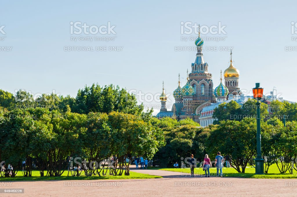 St Petersburg and Cathedral of Our Savior on Spilled Blood stock photo