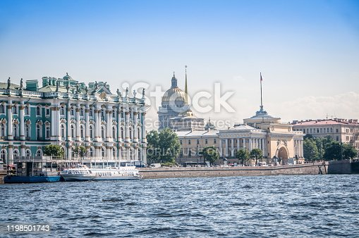 9th of September, 2015 - Hermitage museum and St. Petersburg cityscape from across Fontanka river.