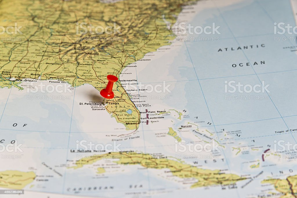 St Petersburg Florida Marked On Map With Red Pushpin Stock Photo