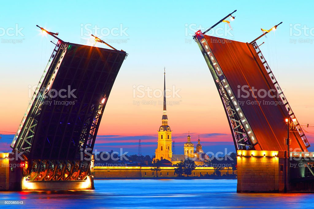 St .Petersburg,  Russia,  Palace Bridge and Peter and Paul Fortress stock photo