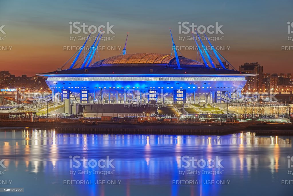 St. Petersburg, Russia, russian stadium built for 2018 World Cup. stock photo