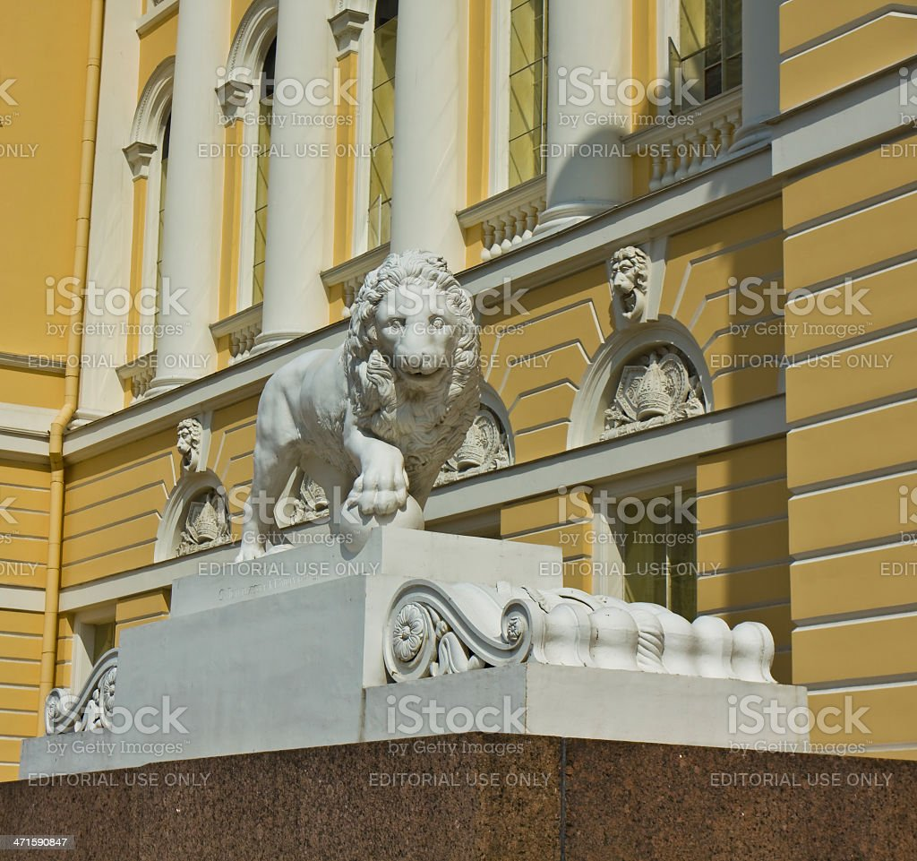 St. Petersburg, sculpture of lion near Russian museum royalty-free stock photo