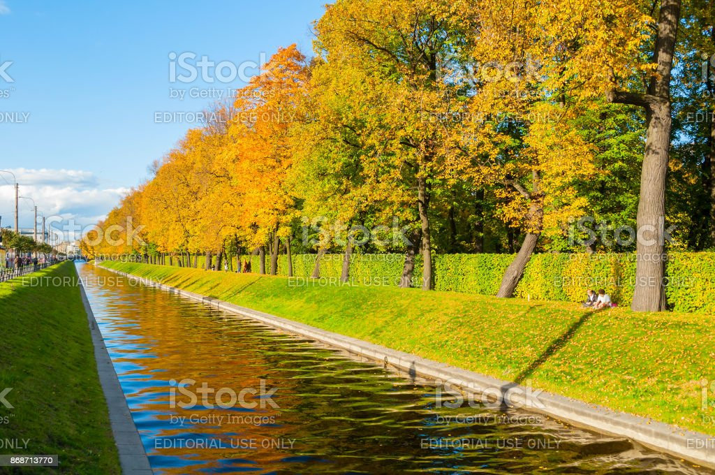 St Petersburg - Swan Canal and autumn park stock photo