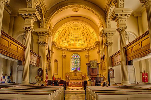 St. Philip's Episcopal Church interior Charleston SC stock photo