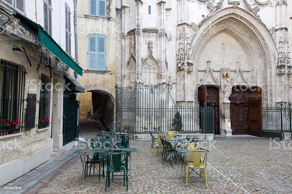 St Pierre Church and Square, Avignon stock photo