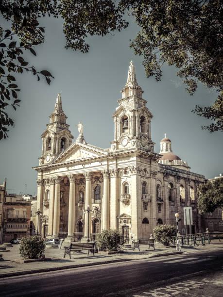 St. Publius Parish Church in city of Malta - La Valletta stock photo