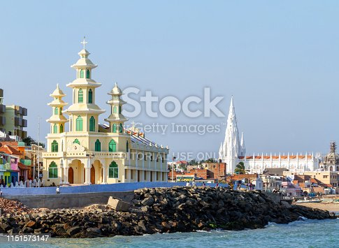 istock St. Roch's Church and Our Lady of Ransom Church by the sea in the Kanyakumari at the southernmost point of India, formerly known as Cape Comorin in the state of Tamil Nadu on sunny day 1151573147