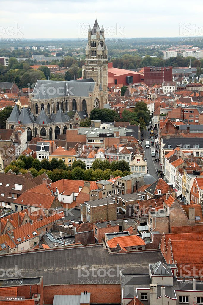 St. Salvator's Cathedral and skyline from above in Brugge, Belgium royalty-free stock photo