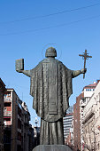 Belgrade, Serbia - December 3rd, 2016: Statue of Saint Sava in front of St Sava Temple facing the city of Belgrade. St Sava, known as The Enlightener, was a Serbian prince and Orthodox monk, the first Archbishop of the Serbian Church. He is the patron saint of Serbia, Serbs, and Serbian education. St Sava day is celebrated on January 27th.