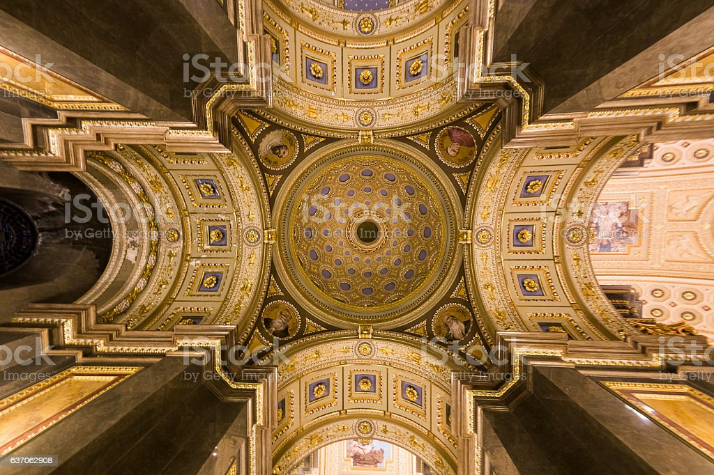 St. Stephen Basilica in Budapest ceiling stock photo