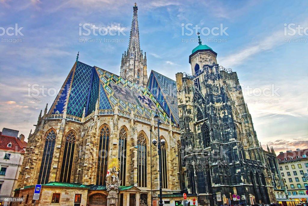 St Stephen Cathedral on Stephansplatz in Vienna stock photo