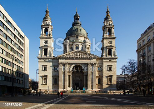 St Stephen's Basilica Residential Buildings Neighborhood with Blue Sky in Budapest City Hungary at Afternoon in January 2021 - St Stephen's Roman Catholic Basilica is the third largest church building in present-day Hungary.