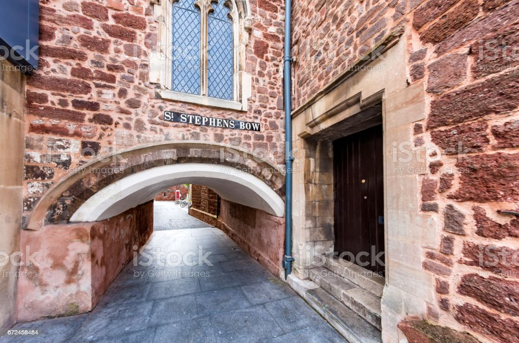 St Stephen's Bow arch in Exeter, Devon stock photo