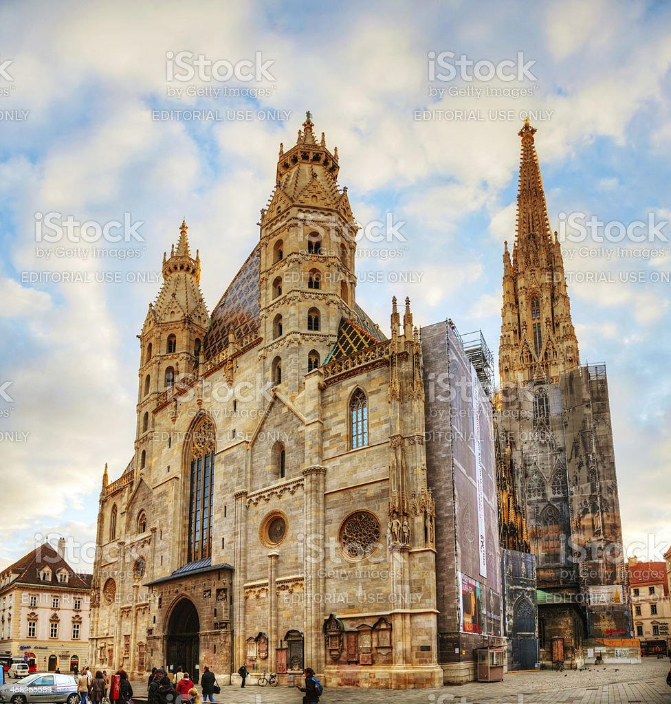St. Stephen's Cathedral in Vienna, Austria surrounded by tourist stock photo