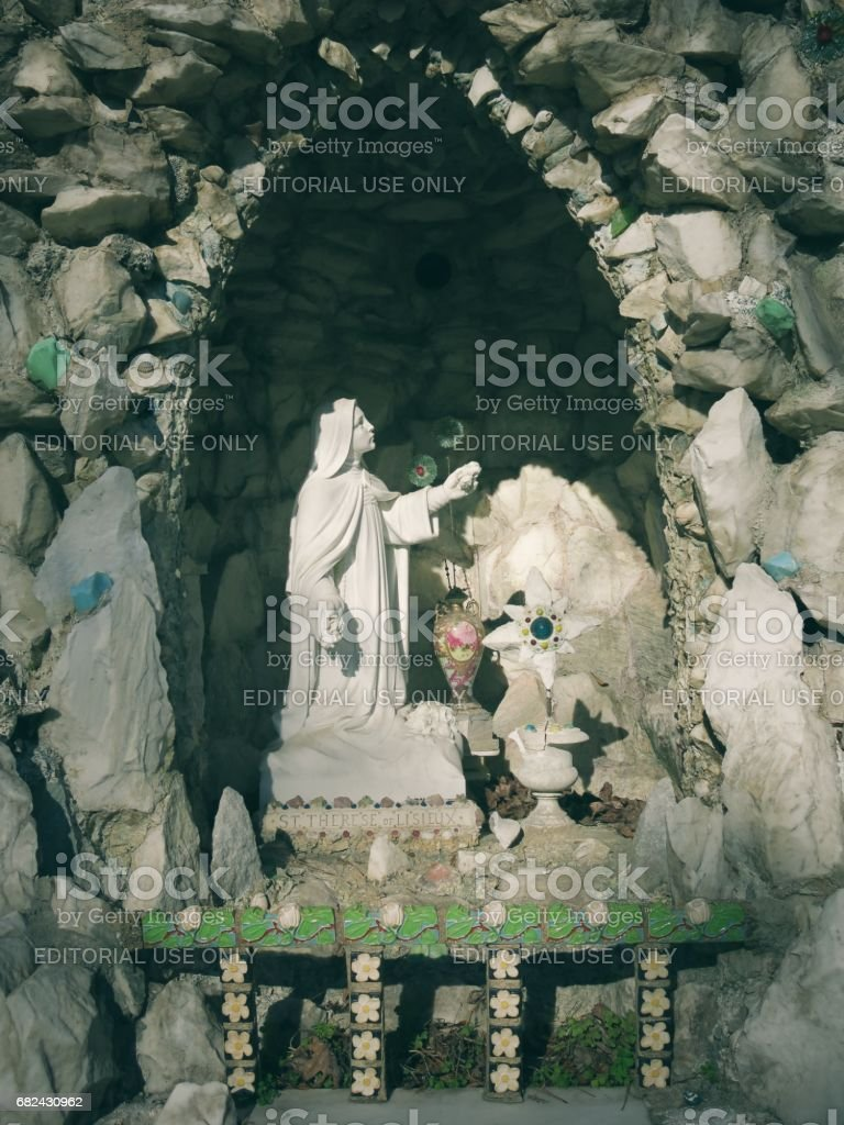 St. Therese the Little Flower in Grotto royalty-free stock photo