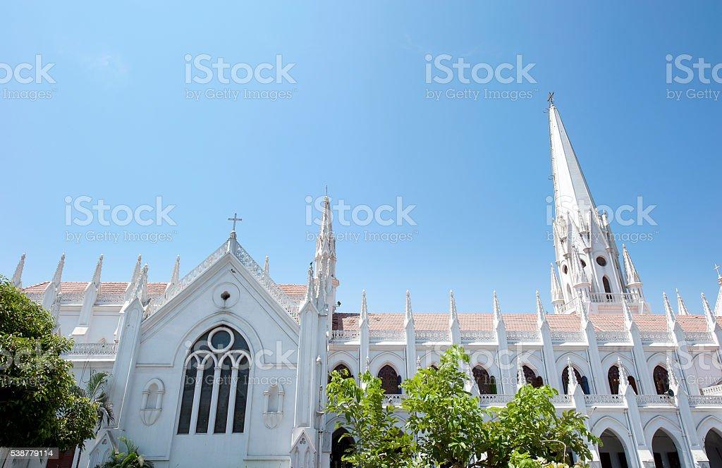 St. Thomas Basilica roofline, Chennai, India stock photo
