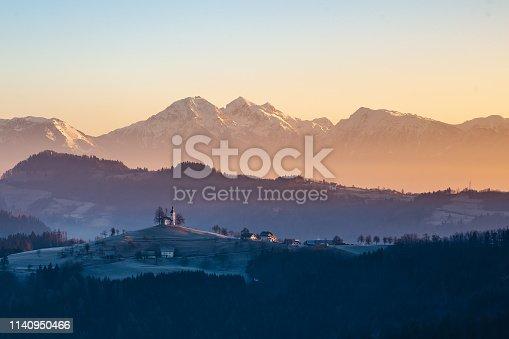 St. Thomas church on a winter morning, near Skofja Loka, Slovenia