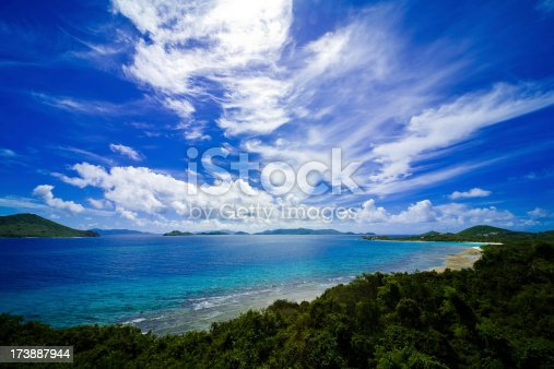 A photo taken on St. Thomas that includes St. John in the background and a dramatic sky