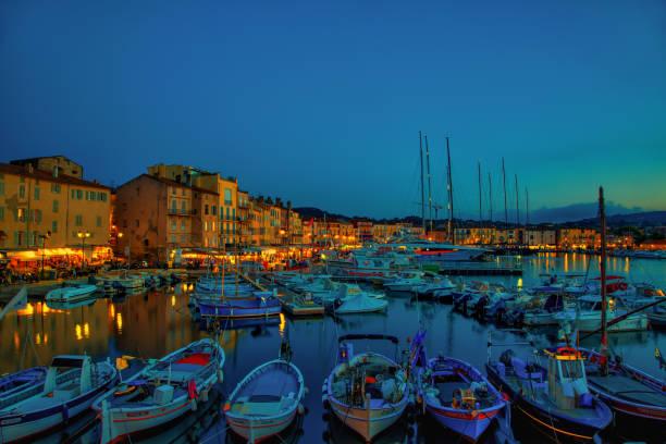 St. Tropez port by night stock photo